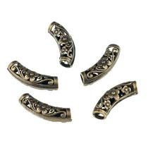 Металлическая бусина-трубочка изогнутая 2,5 см, цвет - бронза