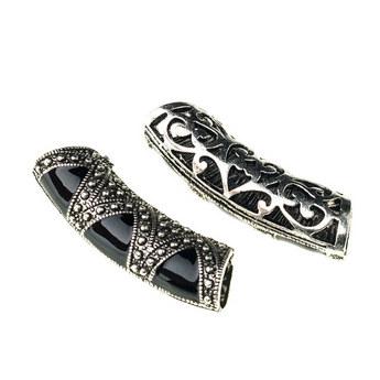 Металлическая бусина-трубочка с эмалью, цвет - античное серебро