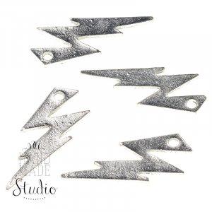 Серебряная  металлическая подвеска Молния