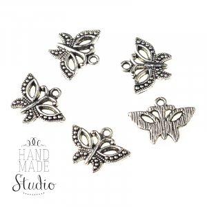 Серебряная  металлическая подвеска Бабочка