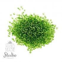 №21 Бисер китайский, цвет - зеленый бутылочный, металлический