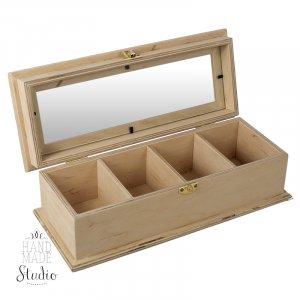 Коробка для чайных пакетиков со вставкой стекло 30х11 см.