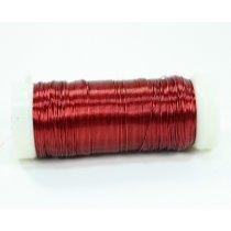Бижутерная проволока, цвет - красный, диаметр - 0,35 мм