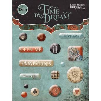 Набор эпоксидных наклеек 16шт от Scrapmir Time to Dream (eng.)
