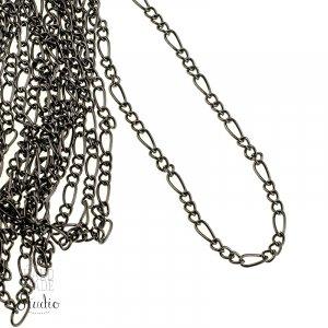 №21 Цепь с плетением  Фигаро, цвет - черный