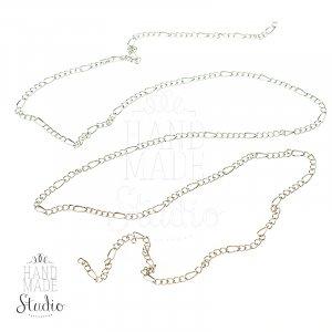 №23 Цепь с плетением  Фигаро, цвет -  серебро