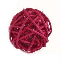 шарик из ротанга,цвет малиновый, 7 см