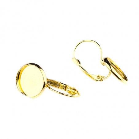 Швензи для сережок з платформою з краями 1,4 см, колір - золото, 2 штуки