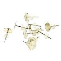 Пуссеты (сережки-гвоздики) с площадкой 0,5 мм с силиконовой заглушкой, цвет - серебро, 10 шт