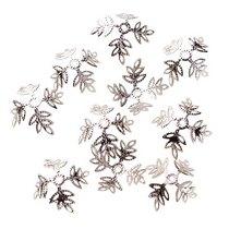 №35 Обниматели для бусин Листики, цвет - серебро