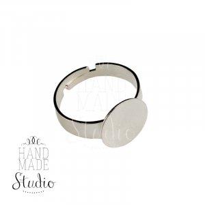 Основа для кольца с  площадкой 1,2 см, цвет - серебро