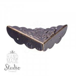 Уголок  декоративный металлический  С-411, цвет бронза 4,3х4,3 см,