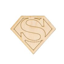 Деревянная заготовка Эмблема Супермен, 6,2х5,3 см