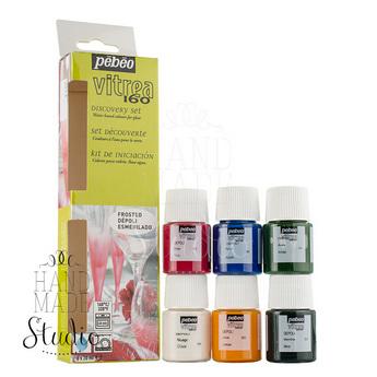 Набор красок Vitrea Pebeo 6 цветов матовый еффект