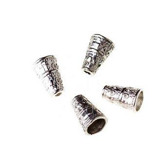 Концевик (конус) шапочка, цвет -  серебро №4