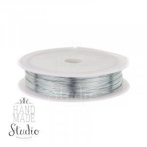 Бижутерная проволока, цвет - серебро, диаметр - 0,4 мм