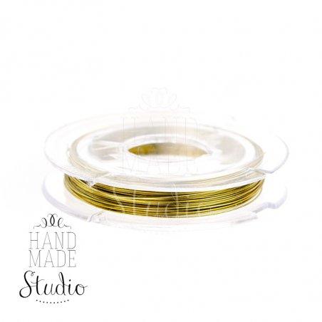 Бижутерная проволока, цвет - золото, диаметр - 0,3 мм, 10 м