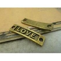 Коннектор для браслета Love, цвет бронза  35х8 мм