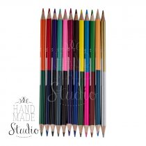 Набор двусторонних цветных карандашей с местом для подписи, 12 цв.