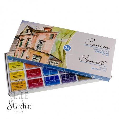 Набор акварельных красок, Сонет, 24цв.,кювета,картон