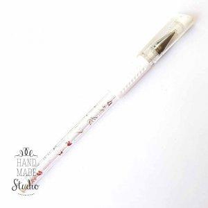 Ручка гелевая, цвет белый 0,8 мм.