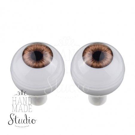 Акриловые глаза для кукол, цвет - светло-коричневый, 12 мм. Арт. G12LD-09