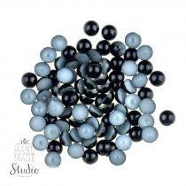 Пластиковые полубусины, черные, 0,8 см