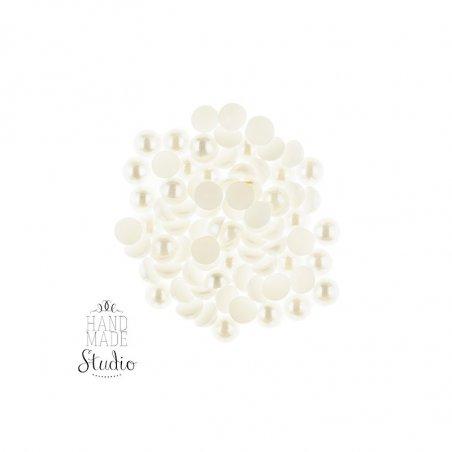 Пластиковые полубусины, белый перламутр, 0,8 см