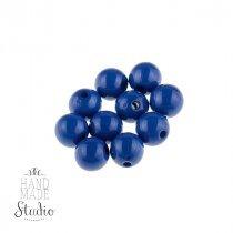 Пластиковые бусины глянцевые, цвет синий 1 см, №118