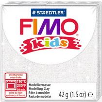 Полимерная глина Fimo kids №052, белый с глиттером, 42 г