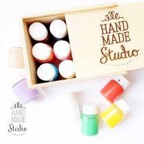 Набор акриловых красок  HM Studio, 12 цветов в деревянном пенале
