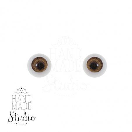 Акриловые глаза для кукол, цвет - светло-карие, 6 мм. Арт. G6LD-09