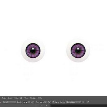 Акриловые глаза для кукол, цвет - фиолетовый, 6 мм. Арт. G6LD-08