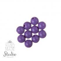 Пластиковые бусины глянцевые, цвет фиолетовый, 0,8 см, №176, 10 шт
