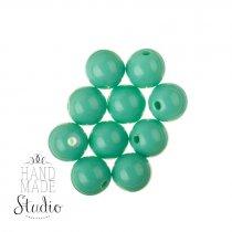 Пластиковые бусины глянцевые, цвет мятный, 1 см, №173