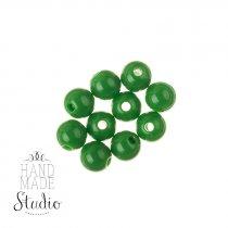 Пластиковые бусины глянцевые, цвет зеленый, 0,8 см, №174, 10 шт