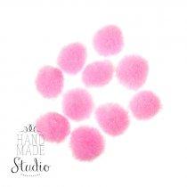 Текстильные мохнатые бусины-помпоны(10шт), цвет ярко-розовый, 1,5 см