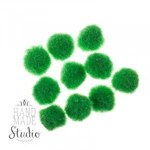 Текстильные мохнатые бусины, цвет зеленый, 1,5 см