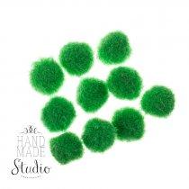 Текстильные мохнатые бусины, цвет - зеленый, 1 см