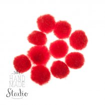 Текстильные мохнатые бусины-помпоны(10шт), цвет - красный, 1 см