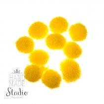 Текстильные мохнатые бусины-помпоны(10шт), цвет - желтый, 1 см