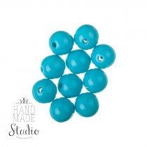 Пластиковые бусины глянцевые, цвет голубой, 1 см,  №138