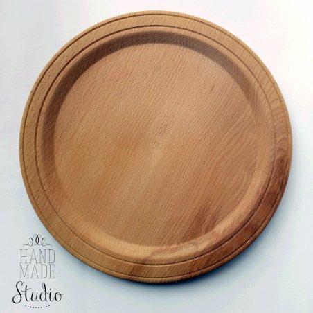 Тарелка деревянная с ободком, Ø18 см