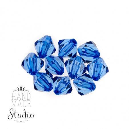 Пластиковые бусины прозрачные ( граненый биконус ), 13 мм, цвет синий, 10 штук