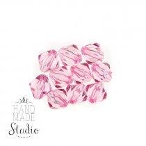 Пластиковые бусины прозрачные ( граненый биконус ), цвет розовый