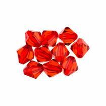 Пластиковые бусины прозрачные ( граненый биконус ), 8х7 мм, цвет красный, 10 шт