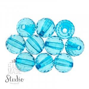 Пластиковые бусины, цвет голубой, 0,8 см