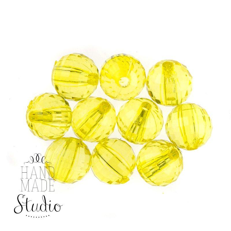 Пластиковые бусины прозрачные, цвет желтый, 1 см