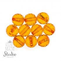 Пластиковые бусины прозрачные, цвет  оранжевый, 1 см