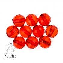 Пластиковые бусины прозрачные, цвет красный, 1 см, 10 шт